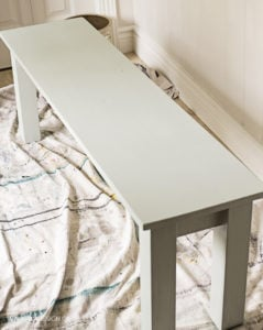 custom chalky finish painted entryway bench