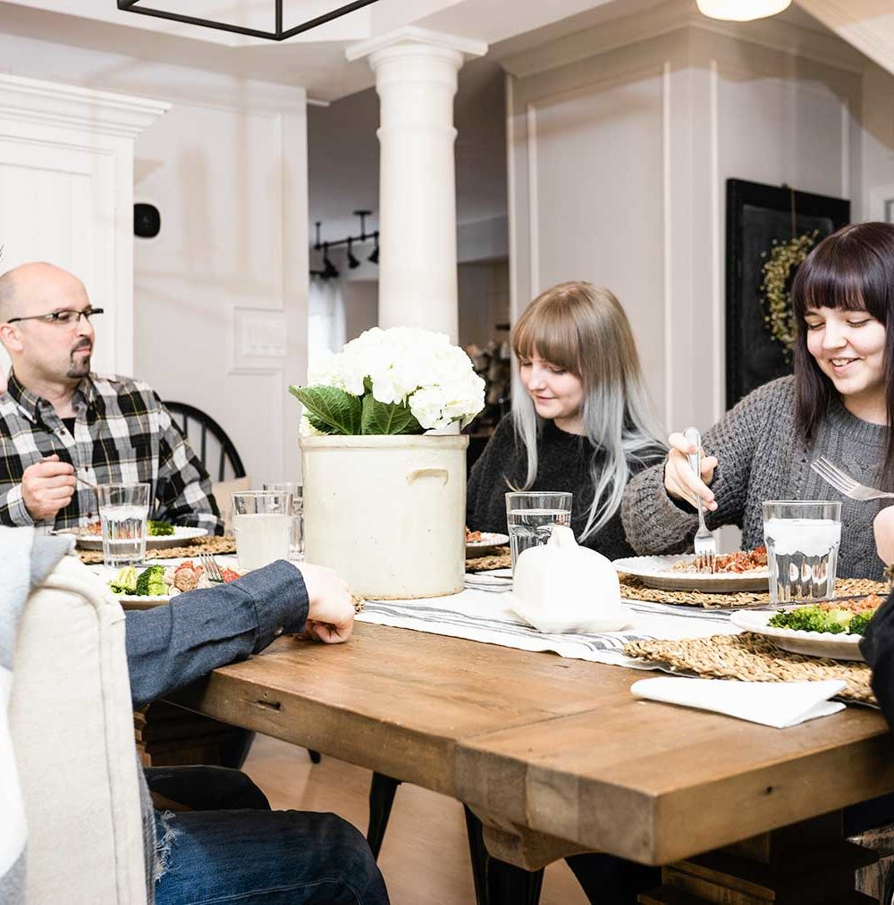 family eating dinner