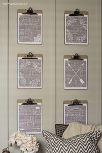 rustic printables on clipboards