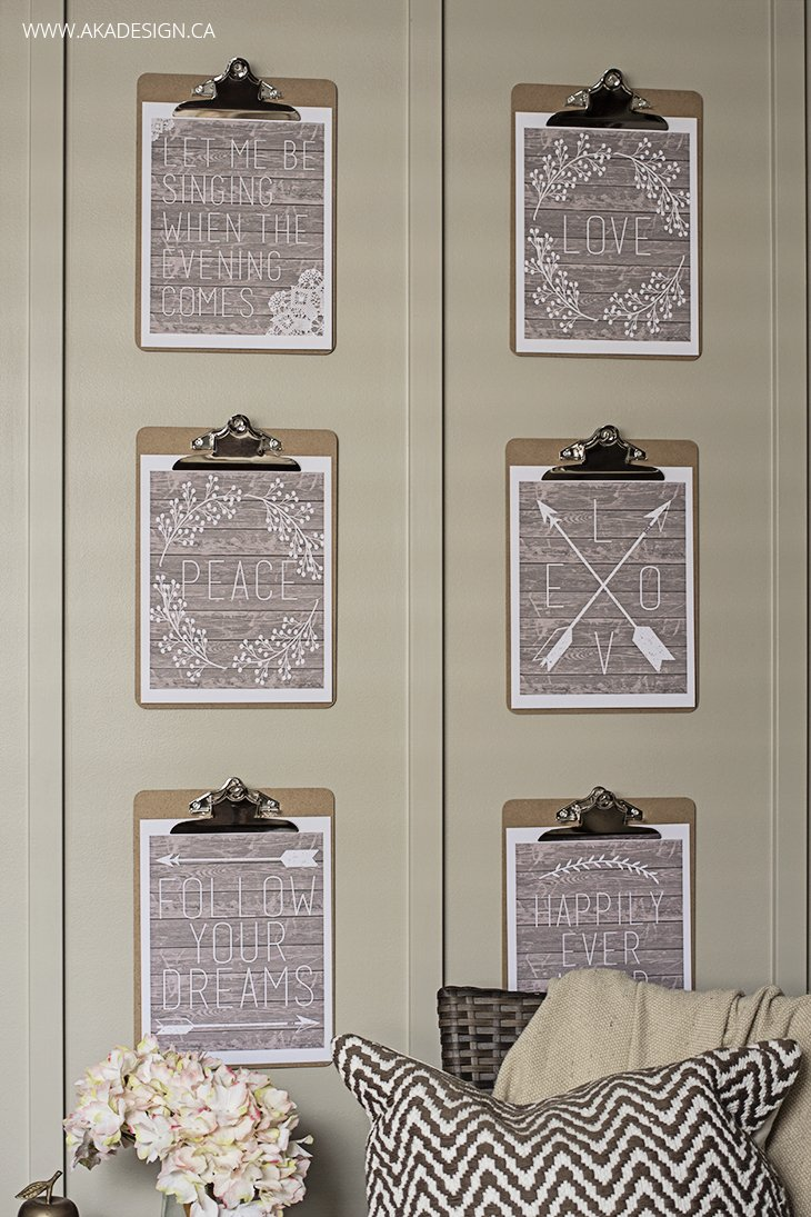 rustic free printables on clipboards