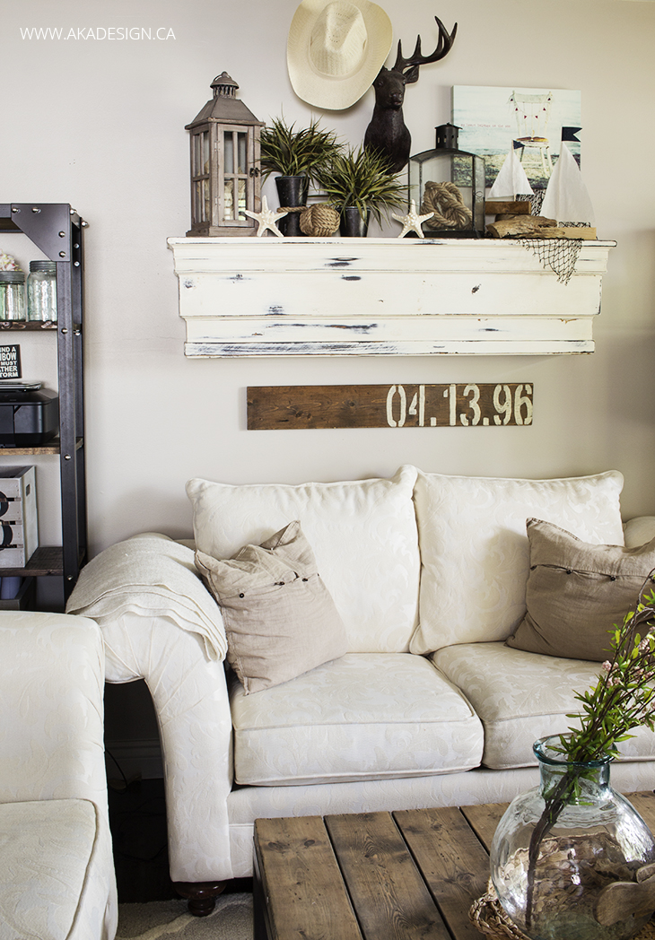aka design living room couch and mantel