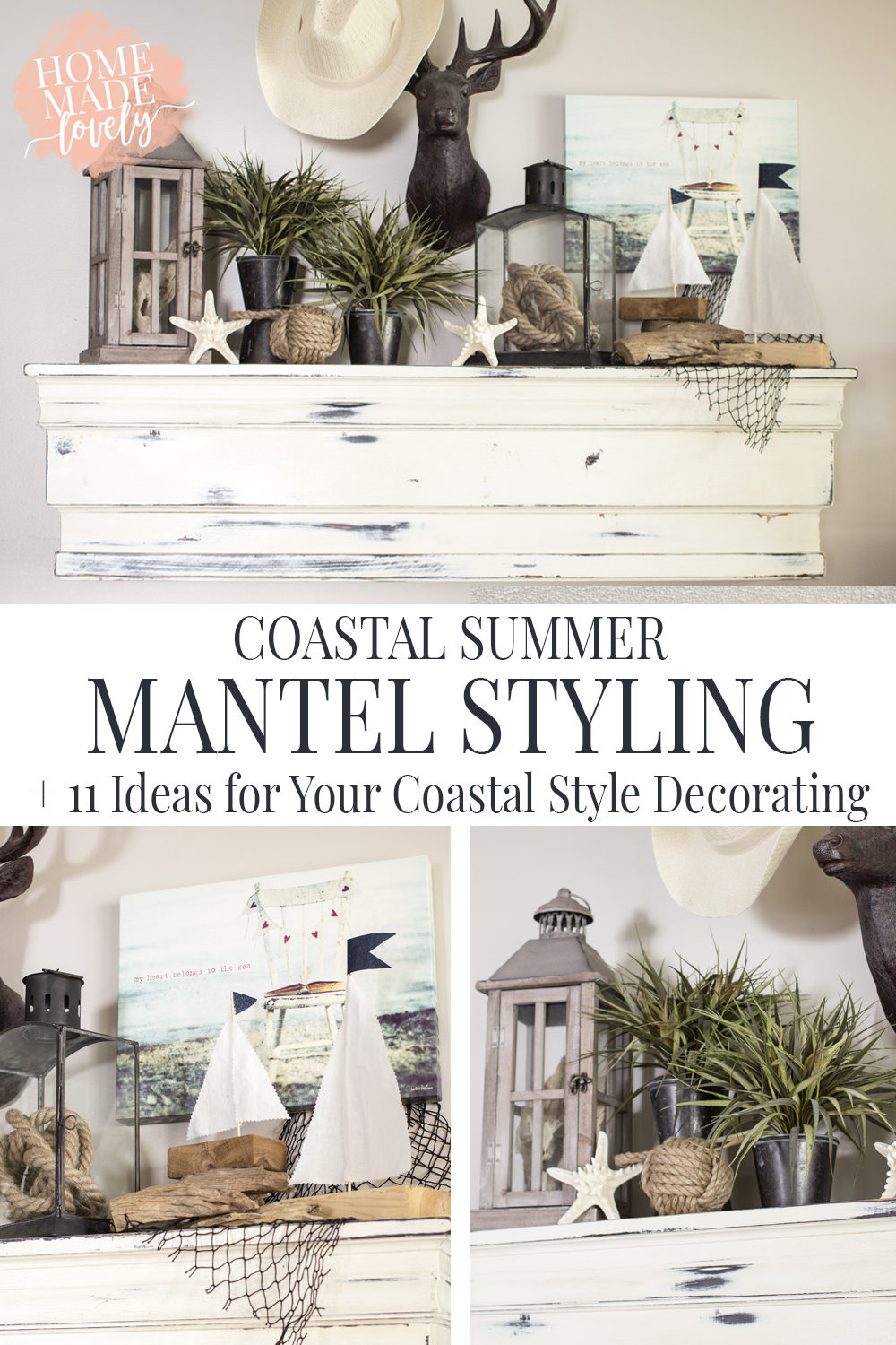 Our wall mantel is the first place to get hit with summer decor. And this year it's all about the coastal summer mantel. Plus 11 Ideas for your own coastal style decorating!