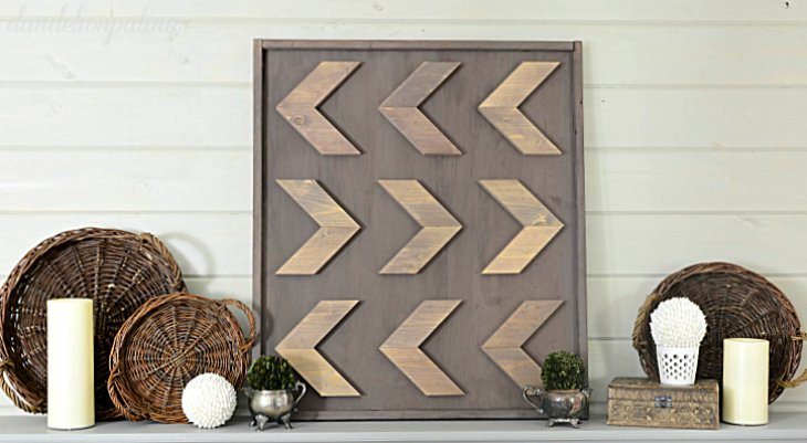 mantel with rustic wall art diy