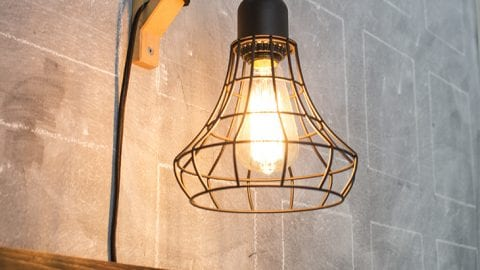 Hanging Cage Light from a Plug-In Light and a Wood Bracket!