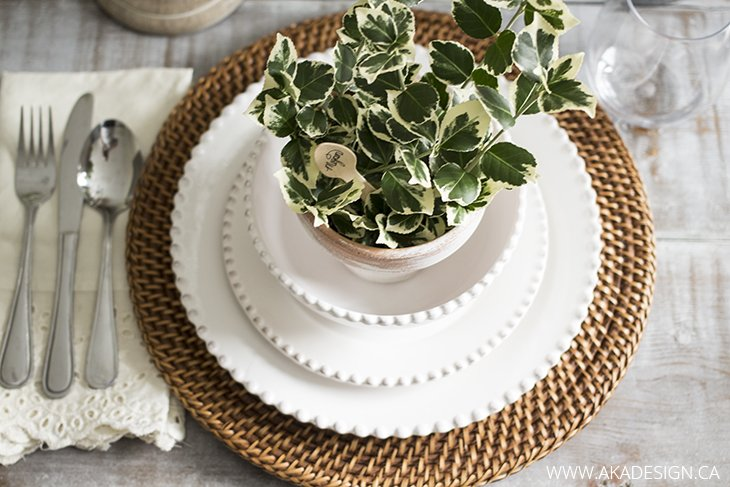 natural, white and cream place setting