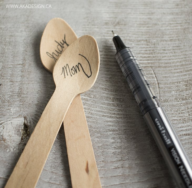 wooden spoon place cards