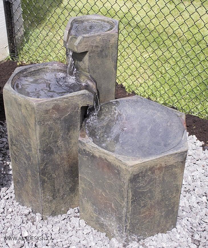 Formal Basalt Columns Fountain Close Up