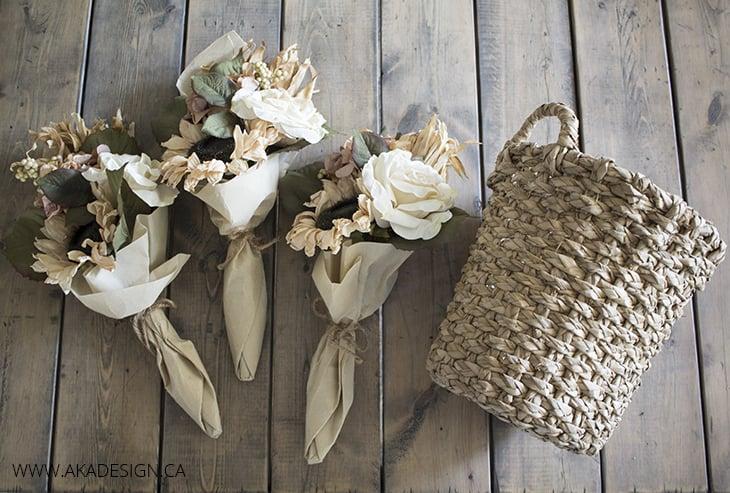 Michaels Flower Bundles and a basket