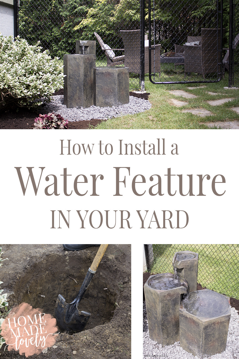 If you love water and want to add a little fountain to your yard, here's how to install a water feature. Complete with step-by-step photos and instructions!