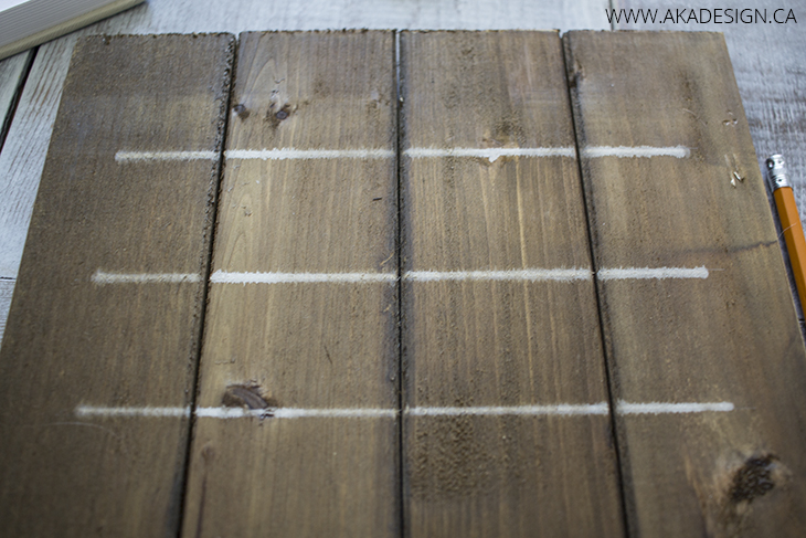 paint marker lines on wood