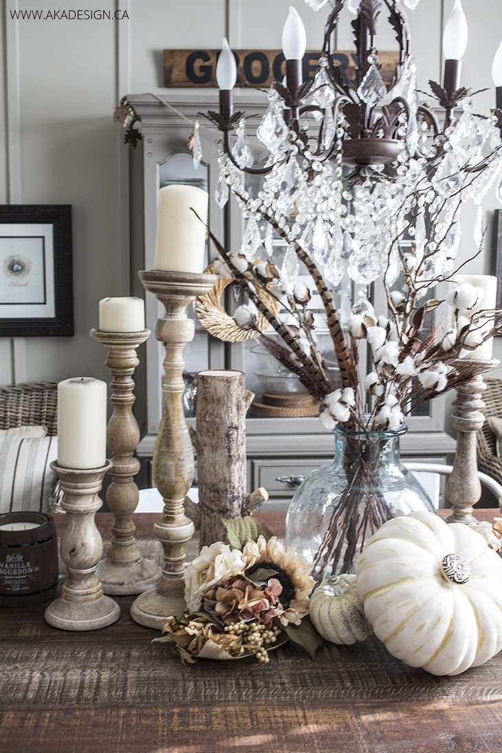 Fall Faux Pumpkins with Crystal Knobs