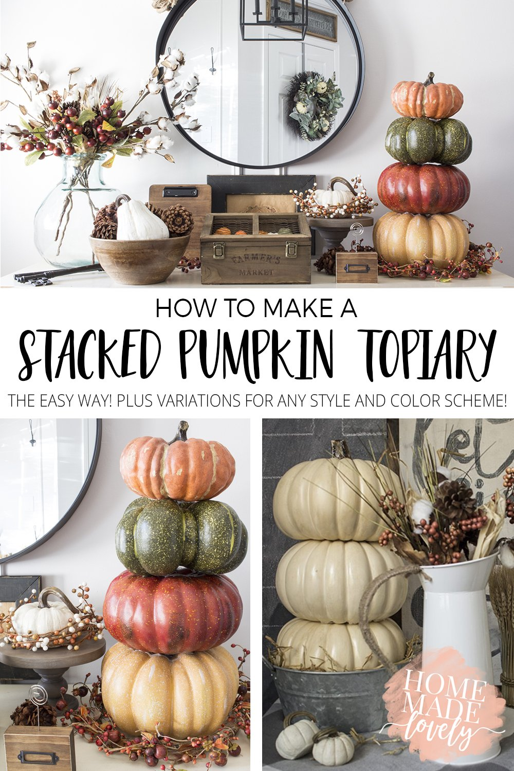 How To Make A Stacked Pumpkin Topiary The Easy Way
