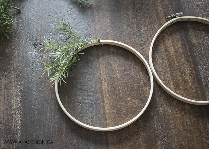 Glue faux greenery onto hoop circle 2