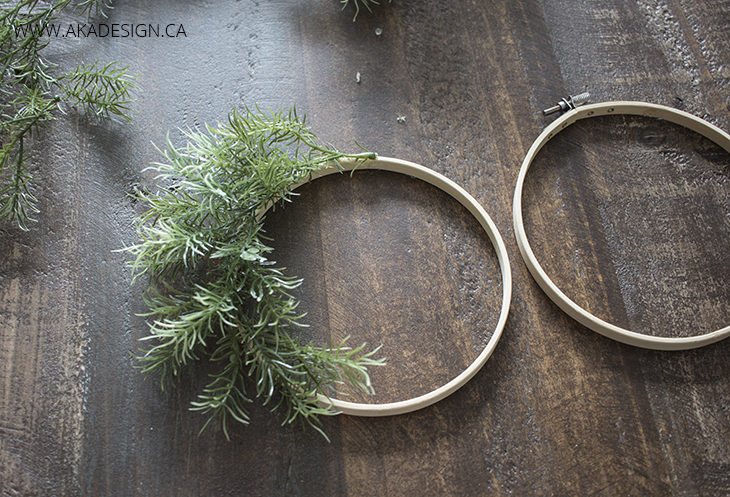 Glue faux greenery onto hoop circle 3