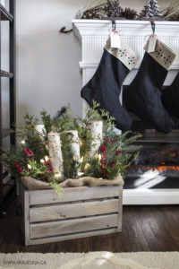 AKA Design Wooden Crate with Greenery and Lights