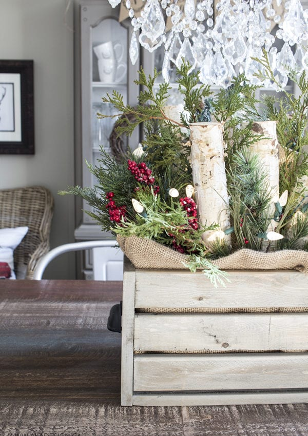 How to Make a Wooden Crate with Logs, Greenery and Lights