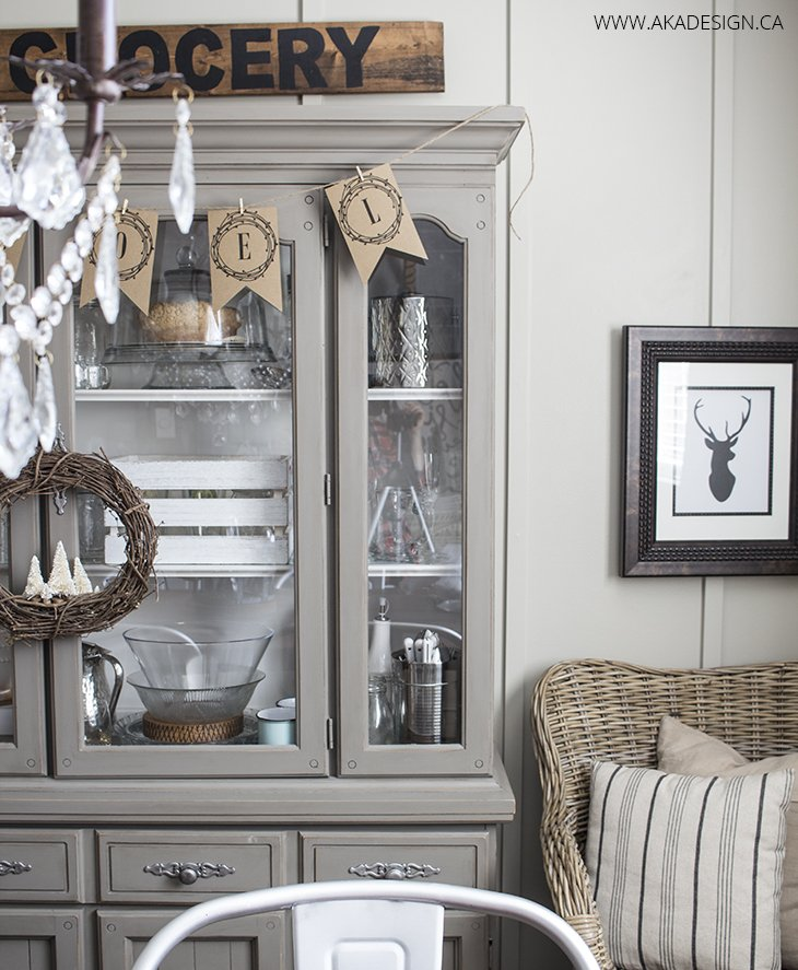 Neutral gray dining room hutch noel