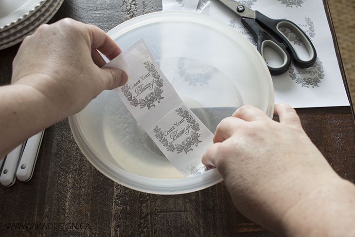 Place packing tape in water