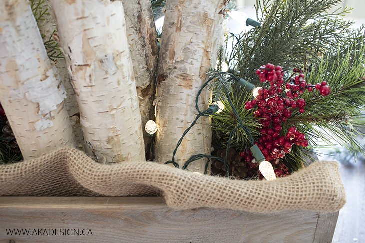 Diy Wooden Crate Logs Greenery And Lights