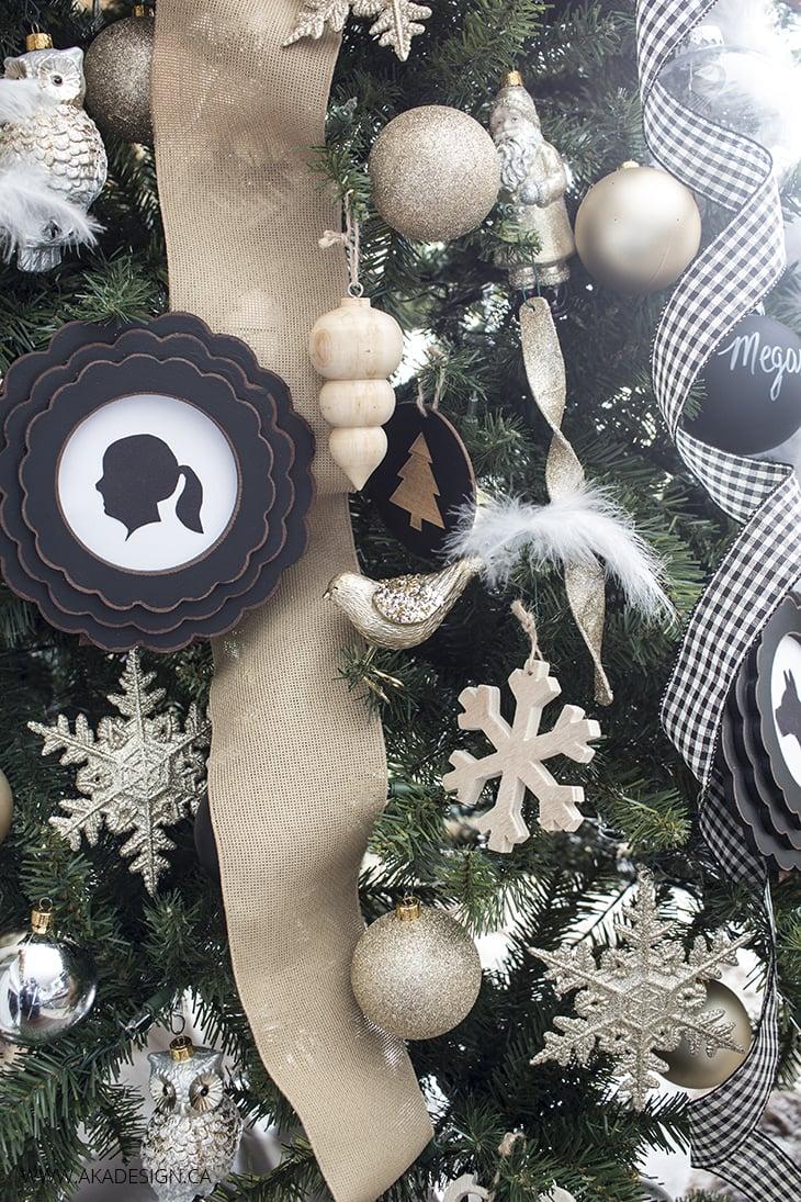 glittery neutral christmas tree ornaments