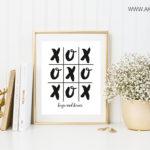 hugs and kisses printable framed