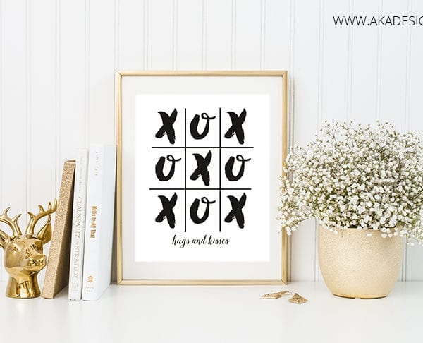 hugs and kisses printable framed