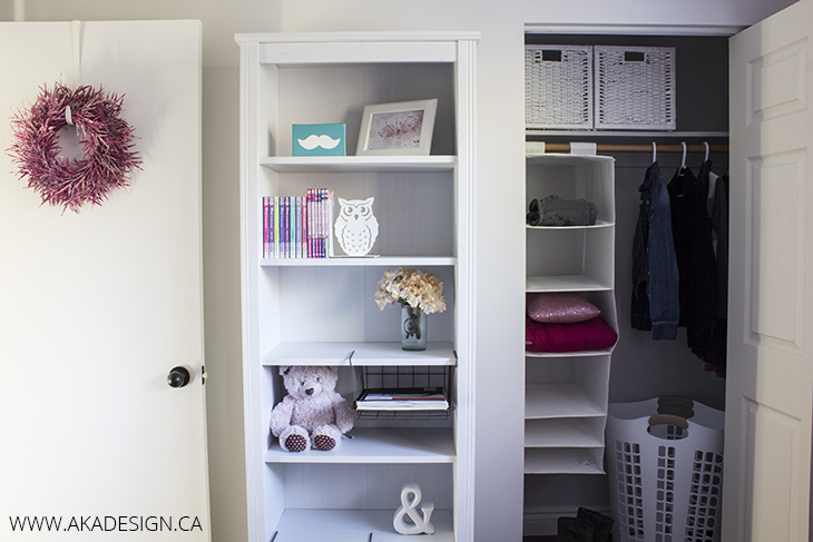 Neutral and pink teen girl 39 s room reveal and source list for Brusali bookcase