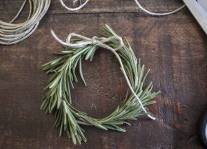 AKA Design Rosemary Wreath Place Cards Tying BLOG PIC