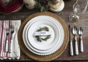 AKA Design Rosemary Wreath Place Cards on Plate 3 BLOG PIC
