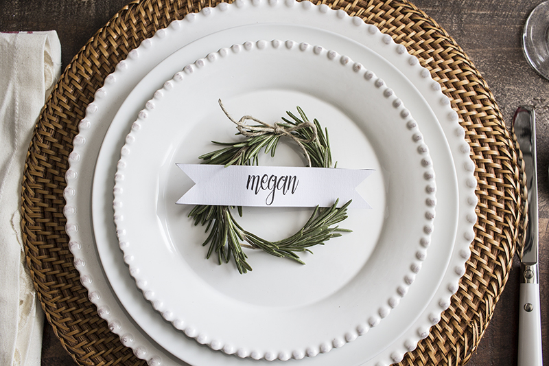Home Made Lovely Rosemary Wreath Place Cards on Plate 4 BLOG PIC