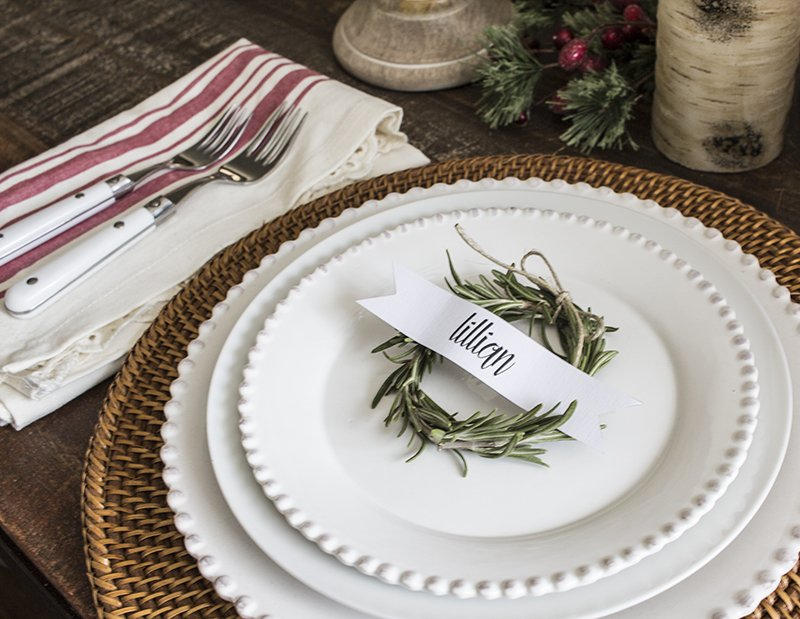 AKA Design Rosemary Wreath Place Cards on Plate 5 BLOG PIC