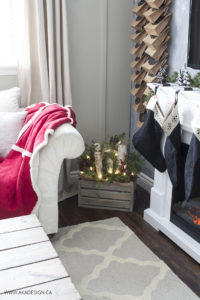 DIY Christmas Crate by the Fireplace