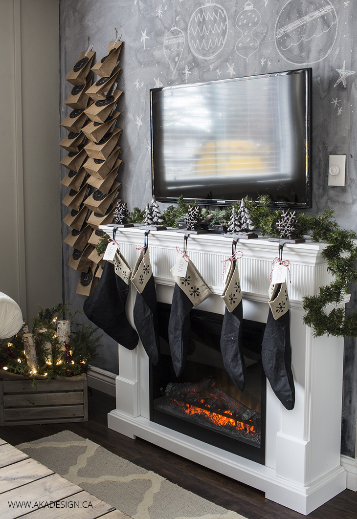 chalkboard tv fireplace wall