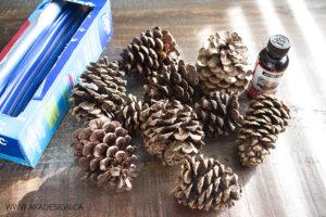 diy scented pine cones supplies
