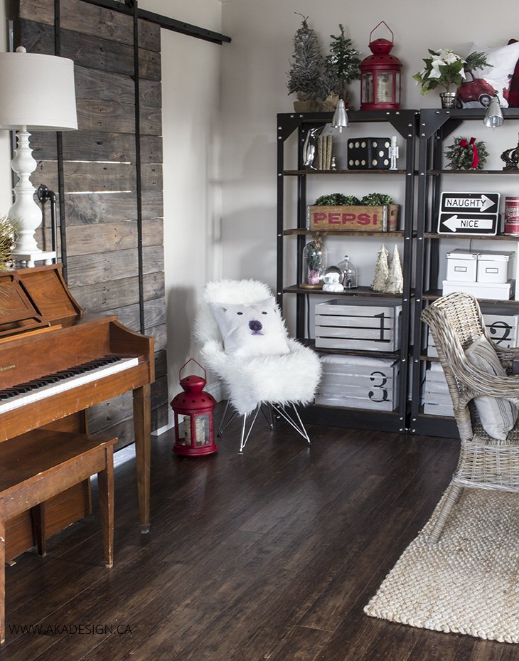 piano and rustic barn door