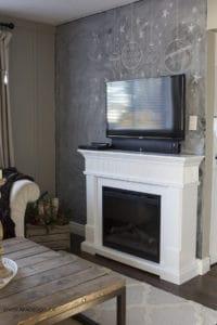 Living room fireplace chalkboard wall