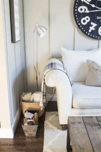 Neutral living room cream couch board and batten