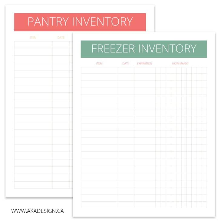 Pantry and Freezer Inventory Printables