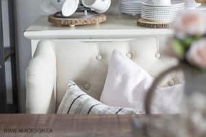 Upholstered Loveseat Dining Room Detail