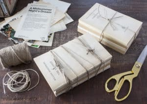Wrap book bundles with twine or jute