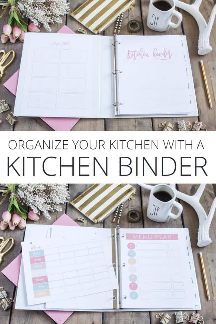 pink binder with grocery lists and meal plans, open on table with office supplies in gold
