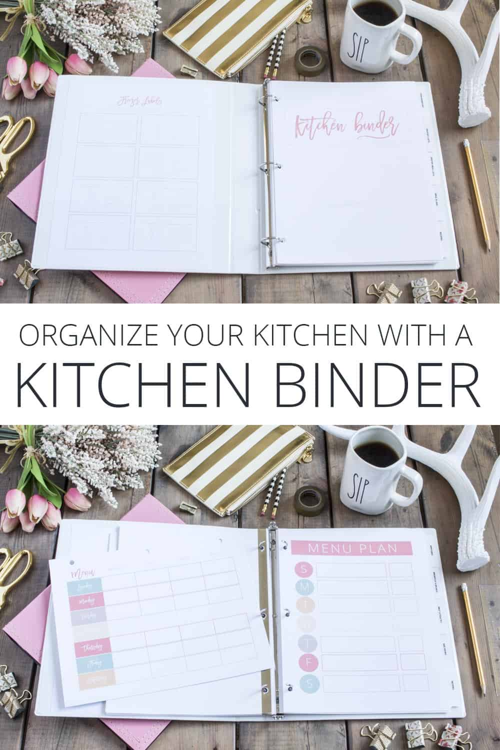 Organize your kitchen and meal planning with a kitchen binder.
