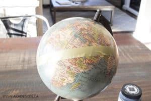 washi tape on globe