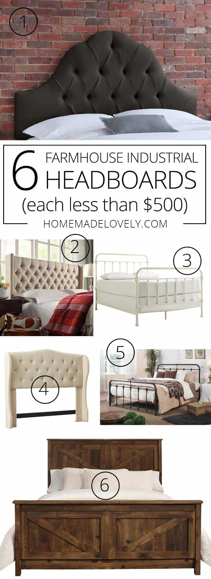 Sometimes it can be hard to find gorgeous furniture at a good price. We've rounded up 6 farmhouse industrial headboards each costing less than $500.