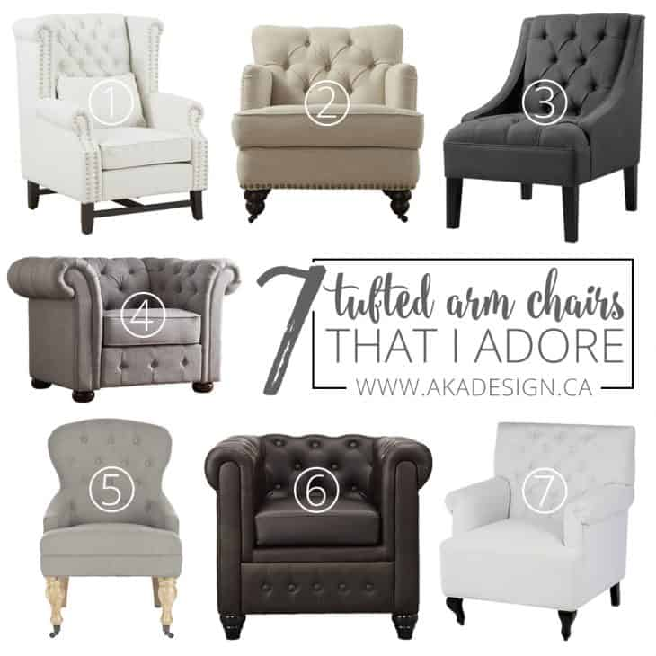 7 Button Tufted Arm Chairs I Adore numbered