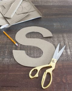 Cardboard letter s from a cereal box