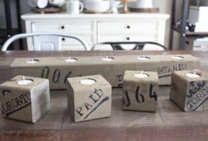 DIY wood block tea light candle holders