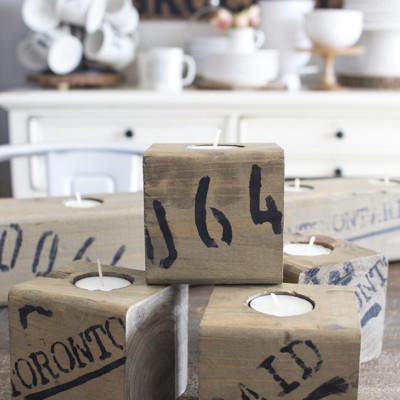 Wood Block Tea Light Holders | Trash to Treasure