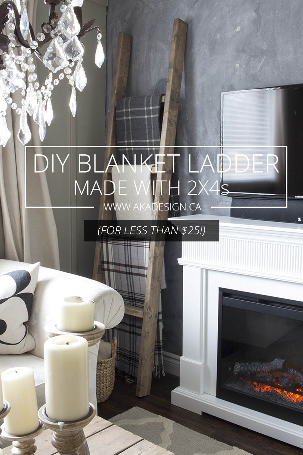 diy blanket ladder made with 2x4s for less than $25