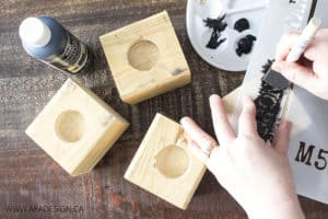 paint stencils on wood blocks